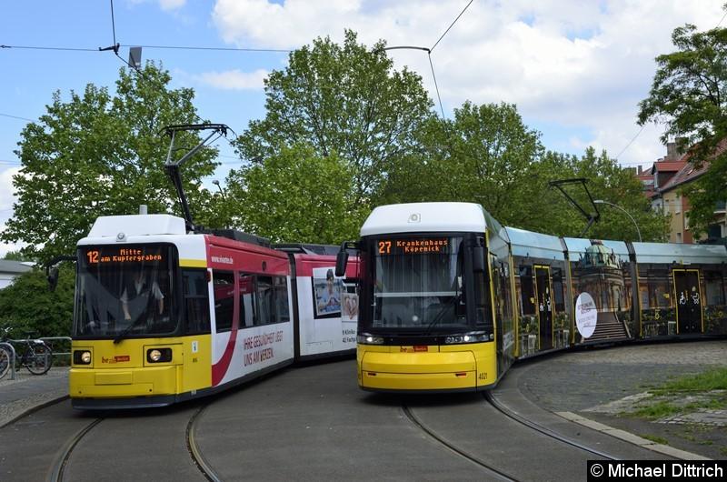 GT6U 1513 (links als Linie 12) und F6Z 4021 (rechts als Linie 27) in der Wendeschleife Pasedagplatz.