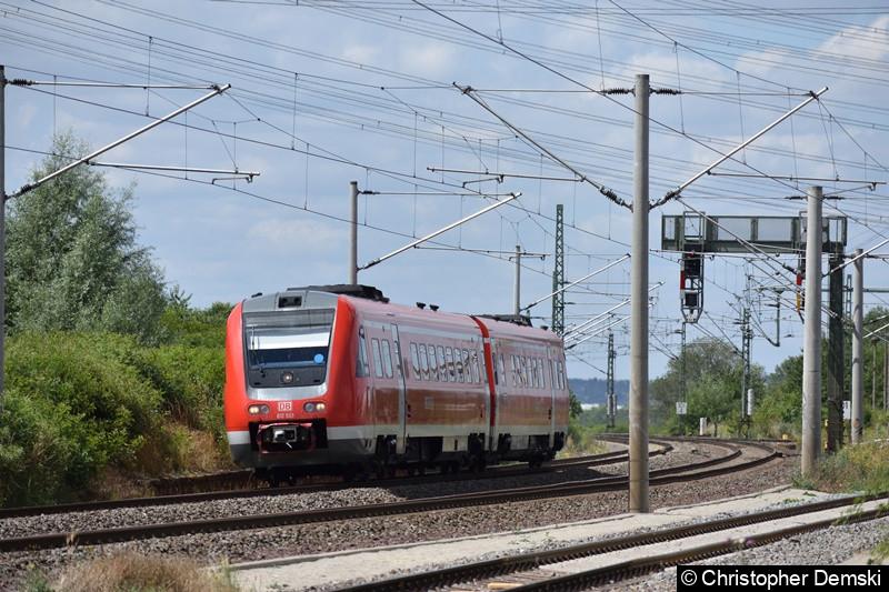 612 533 kurz vor der Durchfahrt in Vieselbach bei Erfurt in Richtung Weimar.