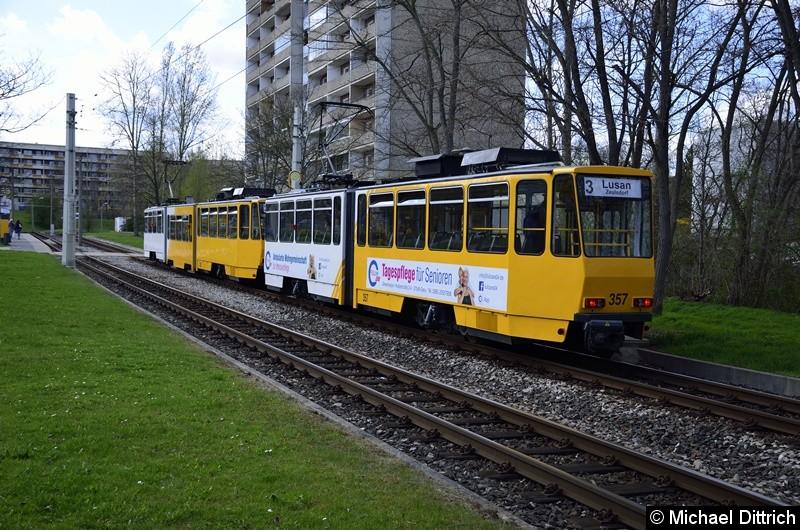 350 + 357 an der Endstelle Lusan, Zeulsdorf.