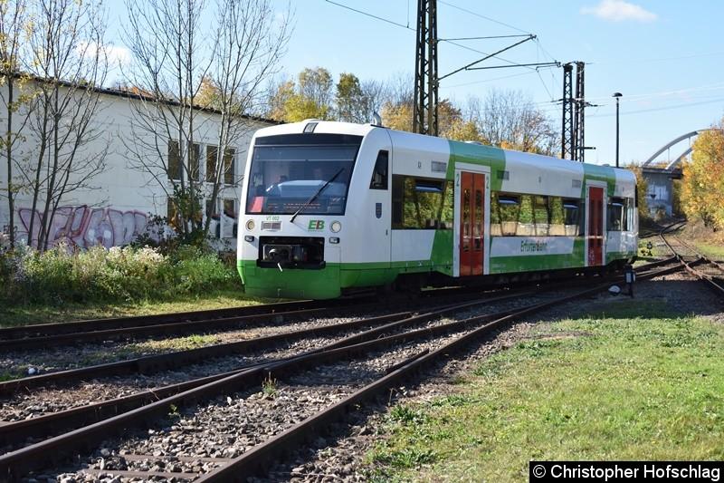 VT 002 (BR 650 401-2) bei der Einfahrt in BW Weimar. Er wurde als Pendelzug zwischen Weimar HBF und BW Weimar eingesetzt.