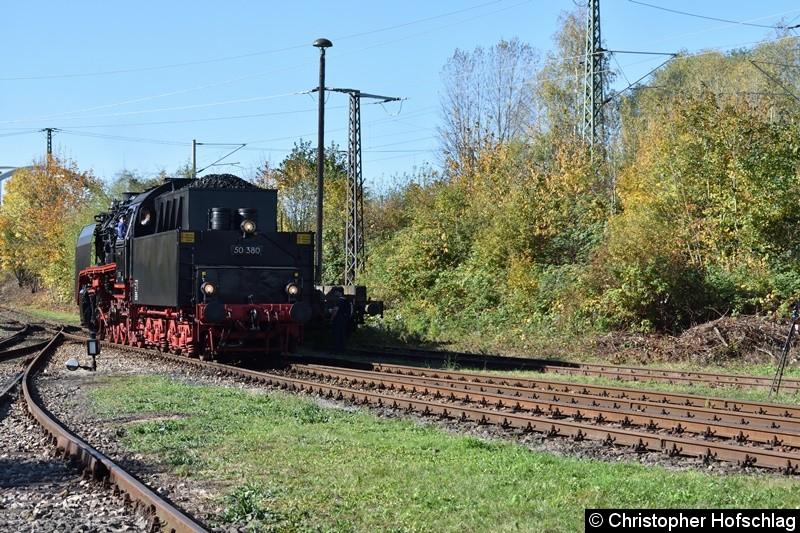50 380 bei der Einfahrt ins BW Weimar.