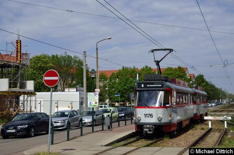 Sonderfahrt mit 1176 + 204: Ankunft Elsa-Brandström-Straße.
