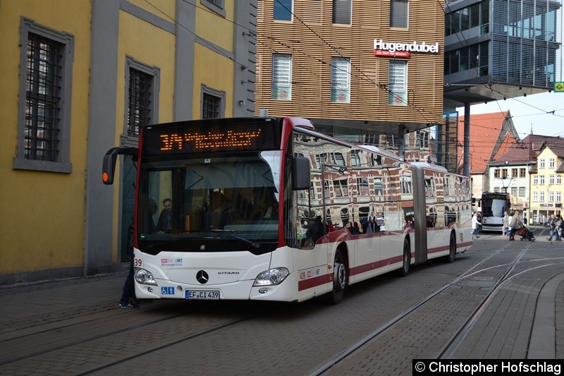 Wagen 439 als SEV-Linie 3/4 an der Ersatzhaltestelle Anger