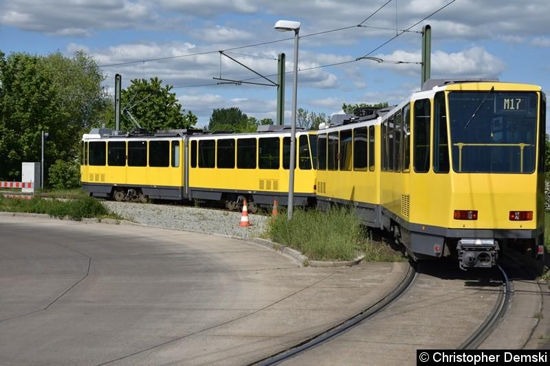 TW 6004+6041 bei der Einfahrt in die Schleife Falkenberg.