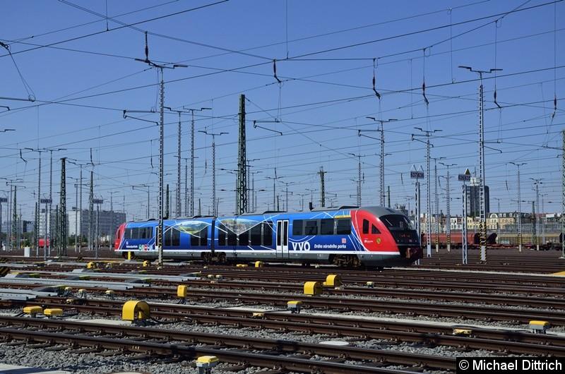 642 037 macht aus Anlass der Eröffnung Fahrten im Güterbahnhof Halle (Saale).