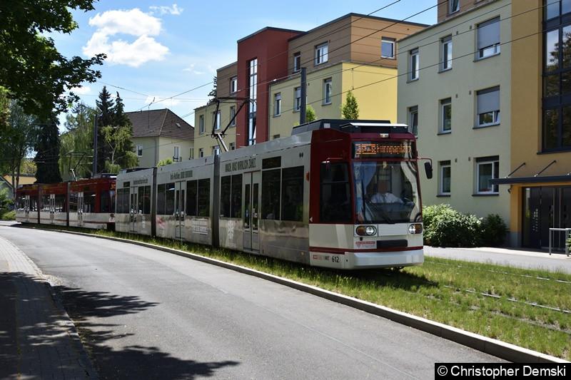 TW 612+614 als Linie 3 in Bereich Melchendorfer Straße in Richtung Europaplatz.