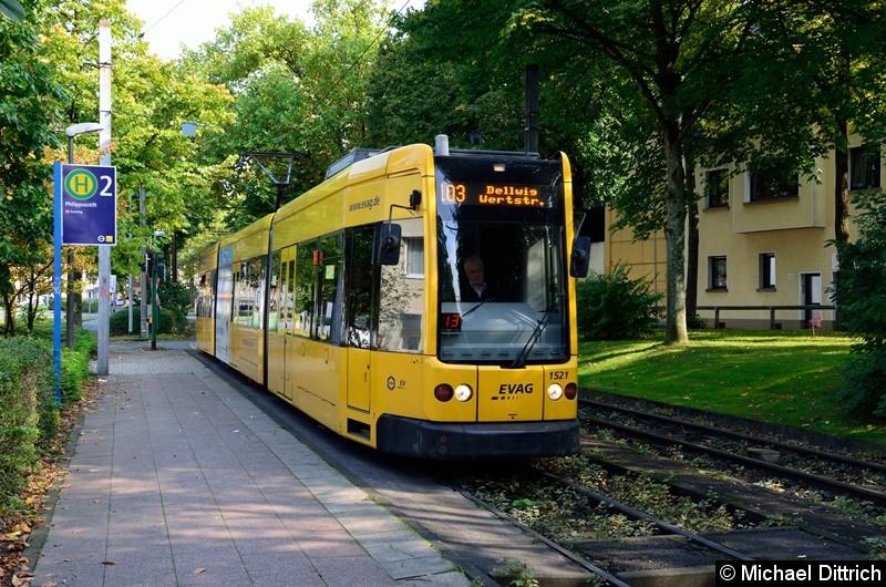 1521 als Linie 103 auf dem Weg nach Dellwig, Wertstr. an der Haltestelle Phillipusstift.