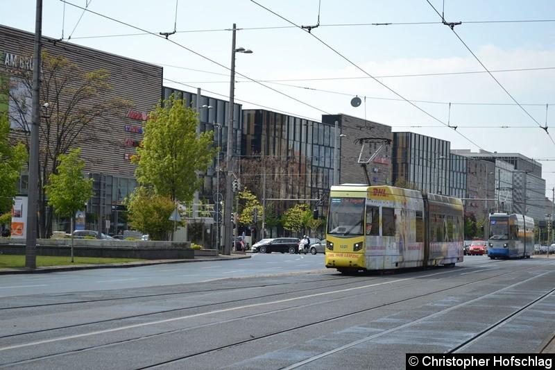 TW 1321 als Linie 14 kurz vor der Haltestelle Hauptbahnhof.