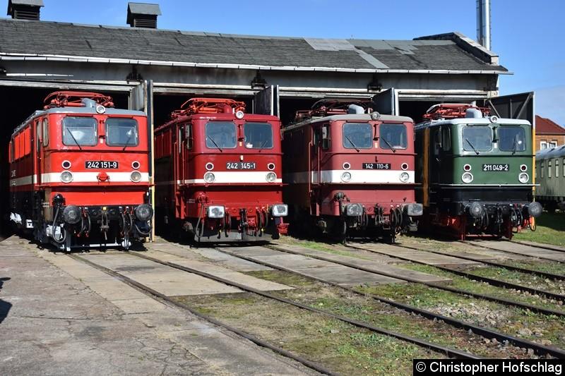 BR 242 151-9,BR 242 145-1,BR 142 110-6 und BR 211 049-2 vor den Lokschuppen in BW Weimar.