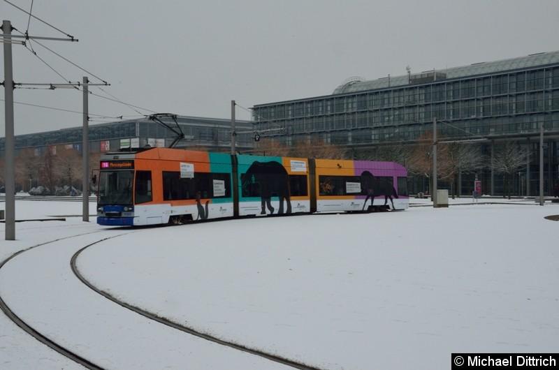 1130 als Linie 16 in der frisch verschneiten Wendeschleife am Messegelände.