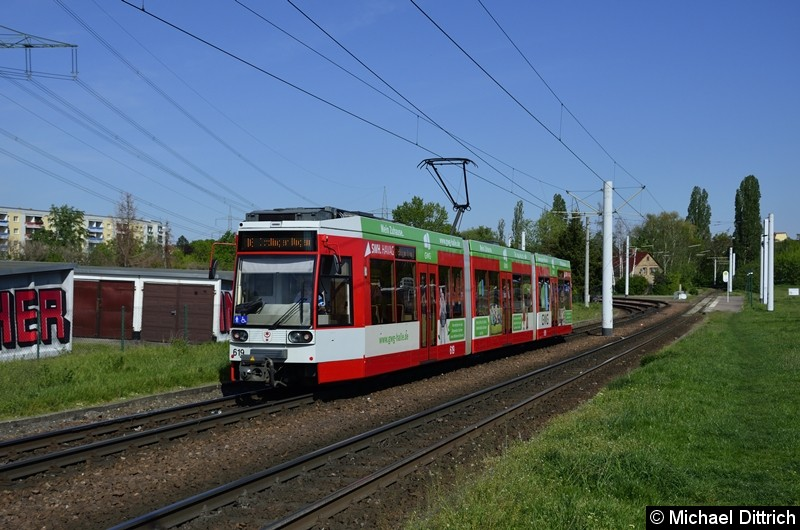 619 als Linie 16 kurz nach der Abfahrt in Beesen.