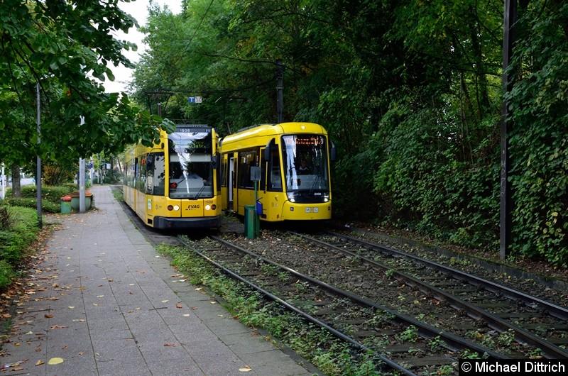 1508 fährt als Linie 103 am wartenden 8009, als Linie 101, vorbei.