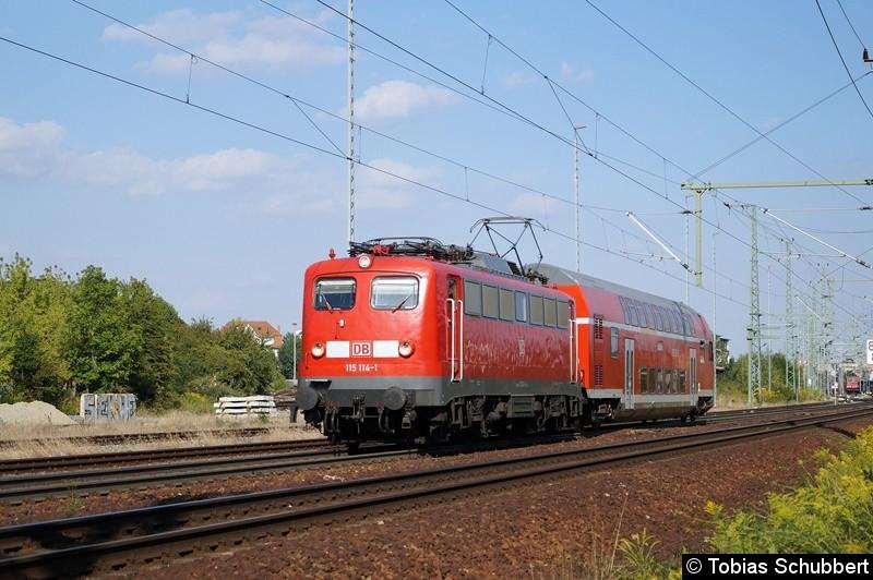 115 114-1 mit einen Dosto-Steuerwagen dran. Auf dem Weg nach München.