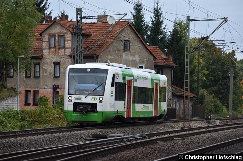 VT 334 bei der Einfahrt in Erfurt Bischleben.