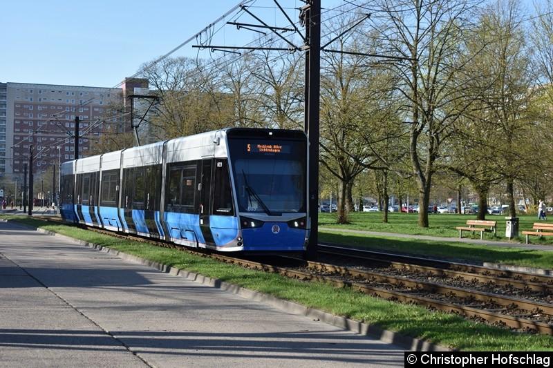 TW 603 als Linie 5 zwischen den Halestellen Warnowallee und Turkuer Str.