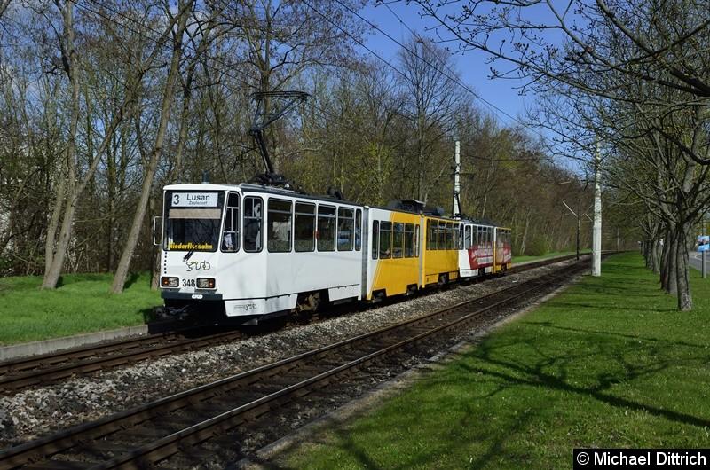 348 + 314 erreichen als Linie 3 die Endstelle Lusan, Zeulsdorf.