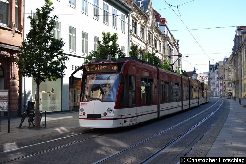 TW 624+712 als Linie 2 zwischen den Haltestellen Anger und Angerbrunnen.