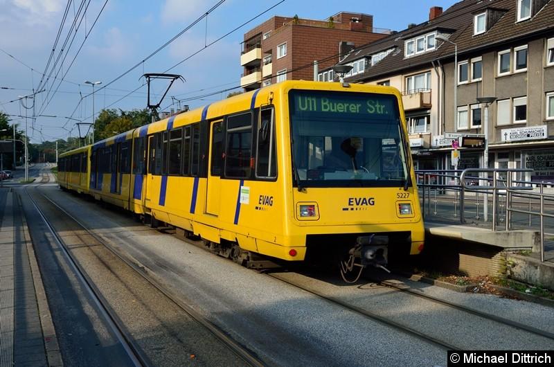 5227 + 5234 als Linie U11 in der Haltestelle Buerer Straße in Gelsenkirchen.
