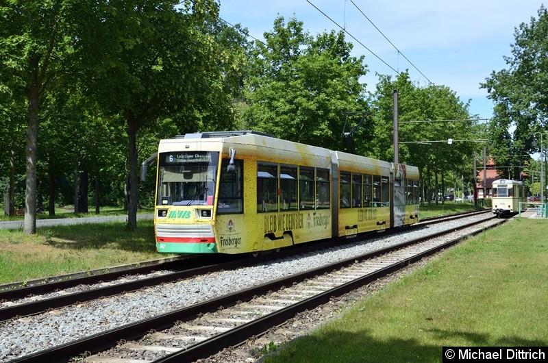 1342 als Linie 6 bei der Abfahrt in Herrenkrug.