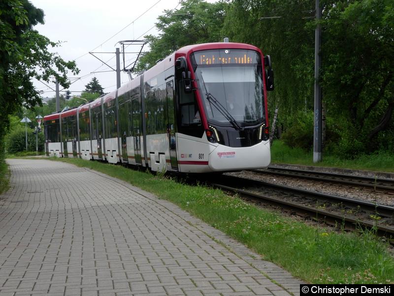 TW 801 als Fahrschule kurz vor der Haltestelle Melchendorfer Markt.