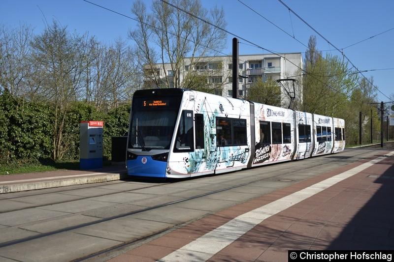 TW 610 als Linie 5 an der Haltestelle Rügener Straße.
