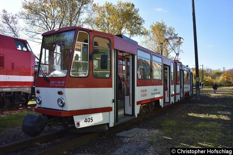 TW 405 in BW Weimar, die Schriftzüge zur Abschlussfahrt in Erfurt sind noch vorhanden.
