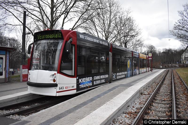 TW 643 als Linie 1 an der Thüringenhalle.