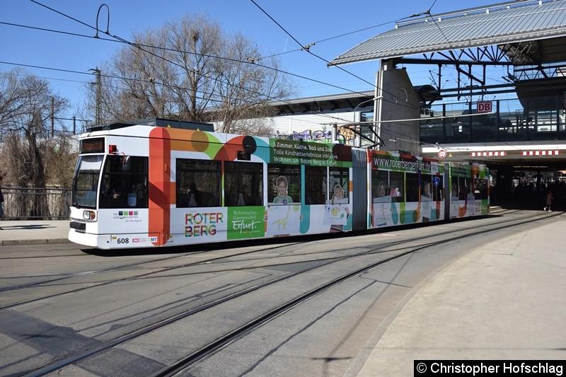 TW 608 als Linie 6 am Stadtparkkopf/Hauptbahnhof in Richtung Steigerstraße