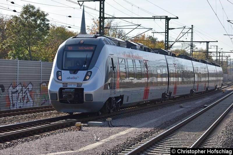 9442 302 als RB 20 nach Halle (Saale) bei der Einfahrt in Erfurt Hbf.