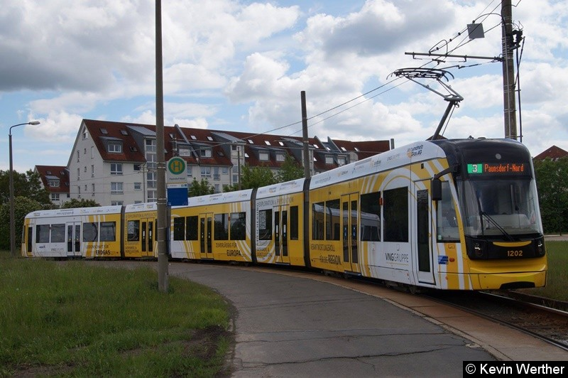 TW 1202 als Linie 3 in der Wendeschleife Paunsdorf-Nord(auf grund von Bauarbeiten)