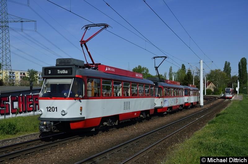 1201 + 1176 + 204 als Linie 3 kurz nach der Abfahrt in Beesen.