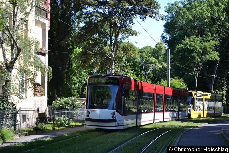 TW 646+702 als Linie 2 am Brühler Garten.