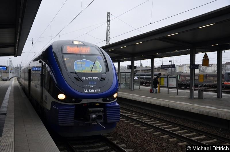 VT 632.001 als Eröffnungszug für die Strecke Joachimsthal - Templin Stadt am 26. November 2018 in Eberswalde Hbf.